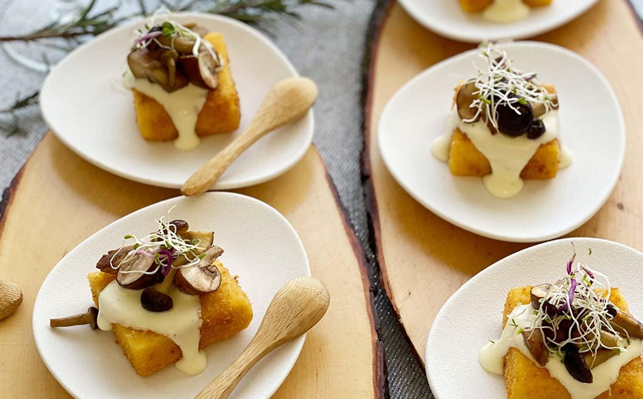 cubetti polenta pioppini burro salato toma